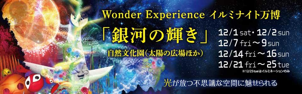 Wonder Experience イルミナイト万博「銀河の輝き」|2018年12月1日(土曜日)・2日(日曜日)、7日(金曜日)から9日(日曜日)、14日(金曜日)から16日(日曜日)、21日(金曜日)から25日(火曜日)※25日(火曜日)はイルミネーションのみ ※雨天決行・荒天中止 |場所:自然文化園(太陽の広場ほか)