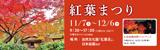紅葉まつり|2020年11月7日(土曜日)から12月6日(日曜日)まで ※水曜定休(10・11月は無休)|場所:自然文化園「紅葉渓」・日本庭園ほか|日本庭園夜間ライトアップ 11月21日(土曜日)・22日(日曜日)・23日(月曜日・祝日)・28日(土曜日)・29日(日曜日)