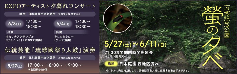 万博記念公園 螢の夕べ|平成29年5月27日(土曜日)から6月11日(日曜日)まで|場所:日本庭園 西地区流れ
