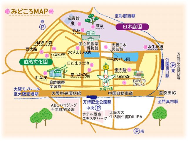 万博記念公園 11月の見どころマップ