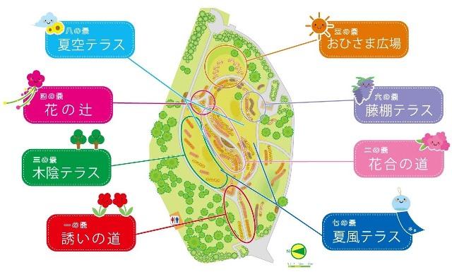 夏の花八景 各景の紹介図