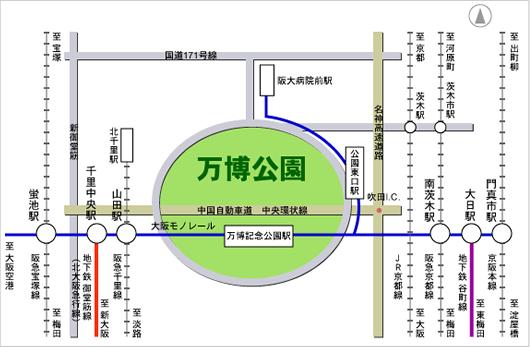 万博記念公園駅周辺路線図